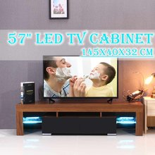 57'' White/Black/Wood TV Unit Cabinet Stand LED Light High Gloss Table Living Room Meuble TV Bedroom Furniture Desk US(China)
