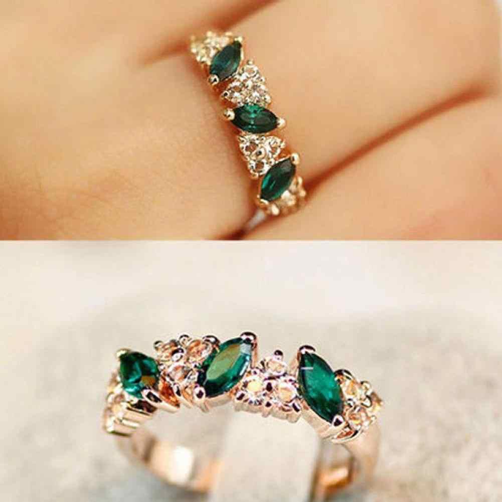 Vintage mujer Esmeralda Zirconia cúbica con incrustaciones de anillo de dedo boda joyería regalo relogia femenino 2019 accesorios de mujer