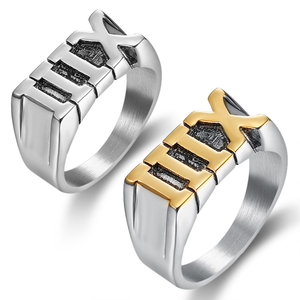 Stainless Steel Simple Roman Numeral XIII Ring Jewelry Gift Size 7-14