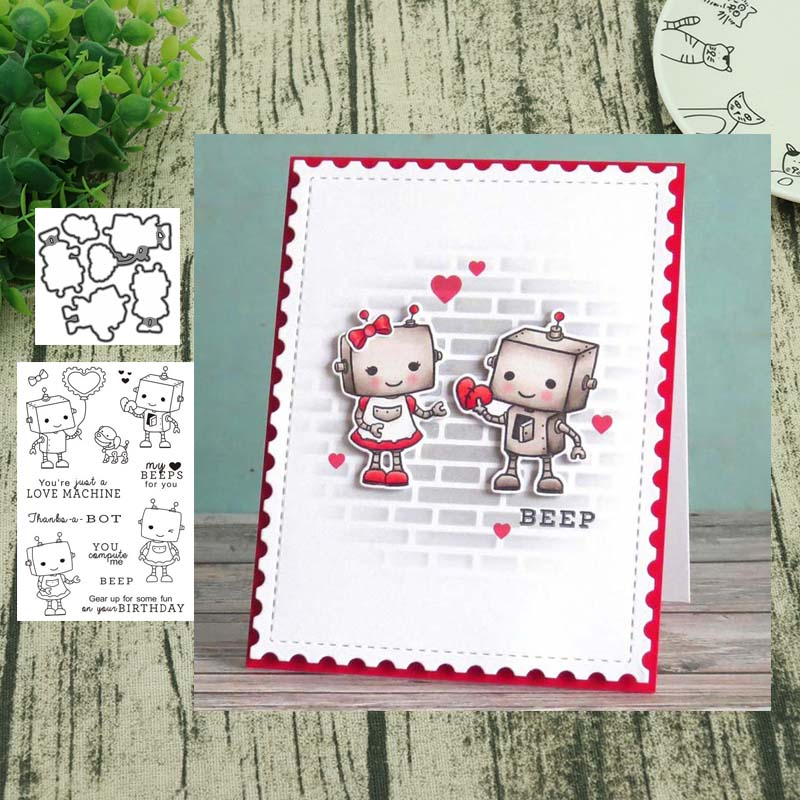 DIY Metal Cutting Dies+Silicone Transparent Seals Clear Stamps for Album Crafts