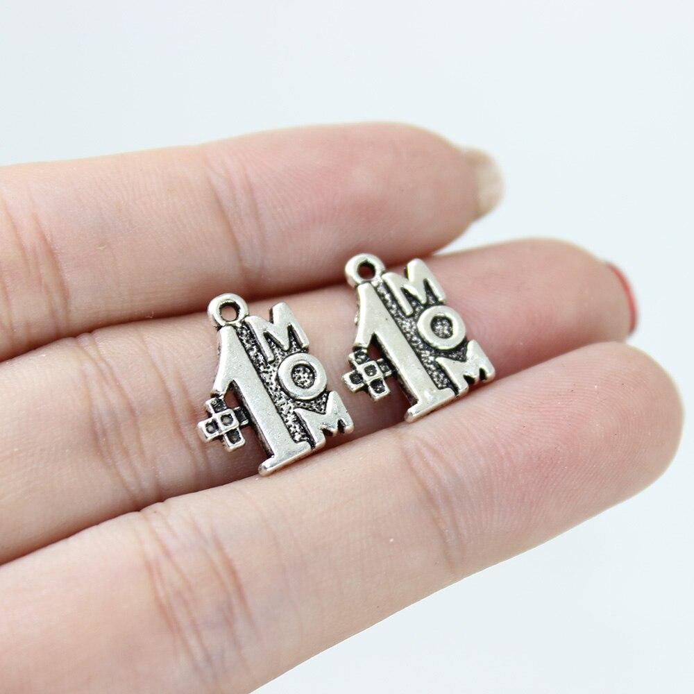 Yamily, 10 штук в наборе, #1 мама шарм 14x12 мм старинное серебро Цвет Кулоны из нержавеющей стали ожерелье