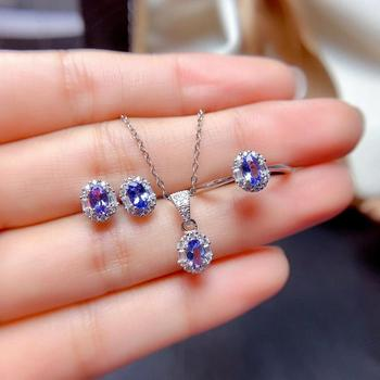 New Natural Tanzanite set jewelry Gemstone Ring Earrings Pendant Necklace Fine Wedding Jewelry Set For Women exclusive green beaded statement necklace set for bride new wedding necklace earrings set christmas jewelry wd916