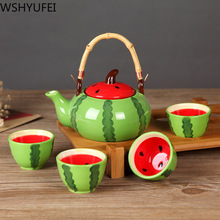 Chinese style Ceramic Teapot Kettles Tea Cup Fruit Watermelon Tea Set wine set Home Decorations (One Kettle Four Cups) (No Tray)