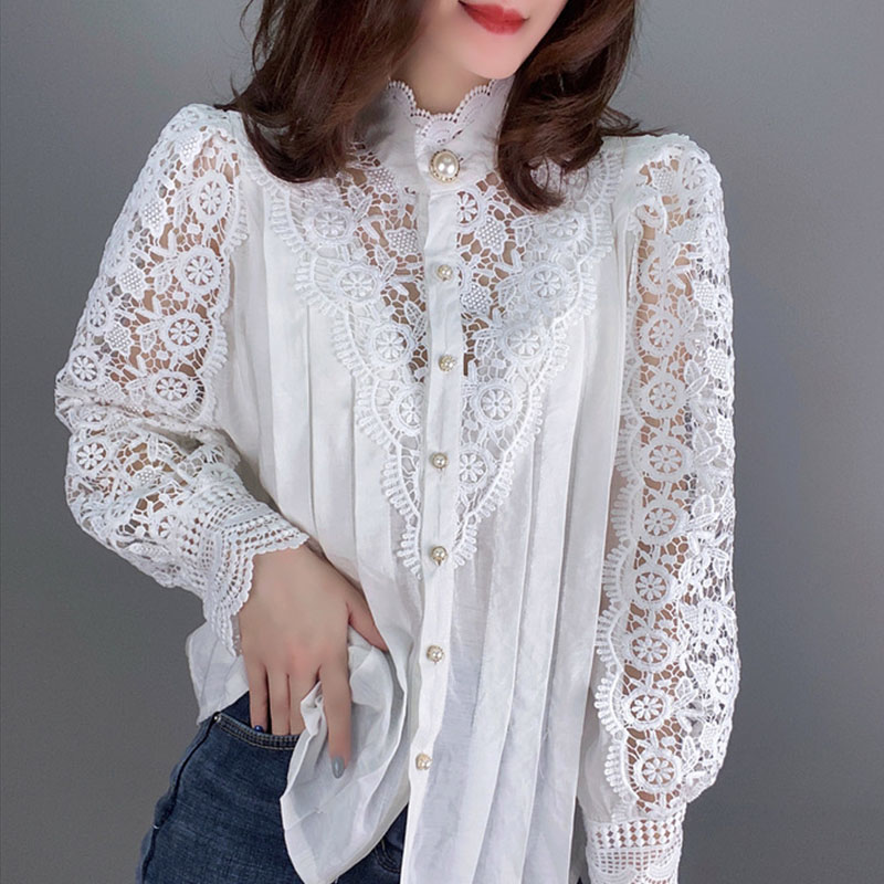 Women Floral Lace Blouses 2020 Lantern Sleeve Tops Ladies Hollow Out Leisure Shirt Autumn Spring Elegant Tops S-L