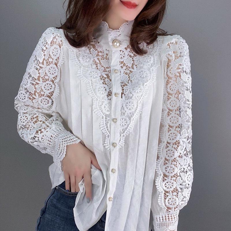Women Floral Lace Blouses 2020 Lantern Sleeve Tops Ladies Hollow Out Leisure Shirt Autumn Spring Elegant Tops S-L