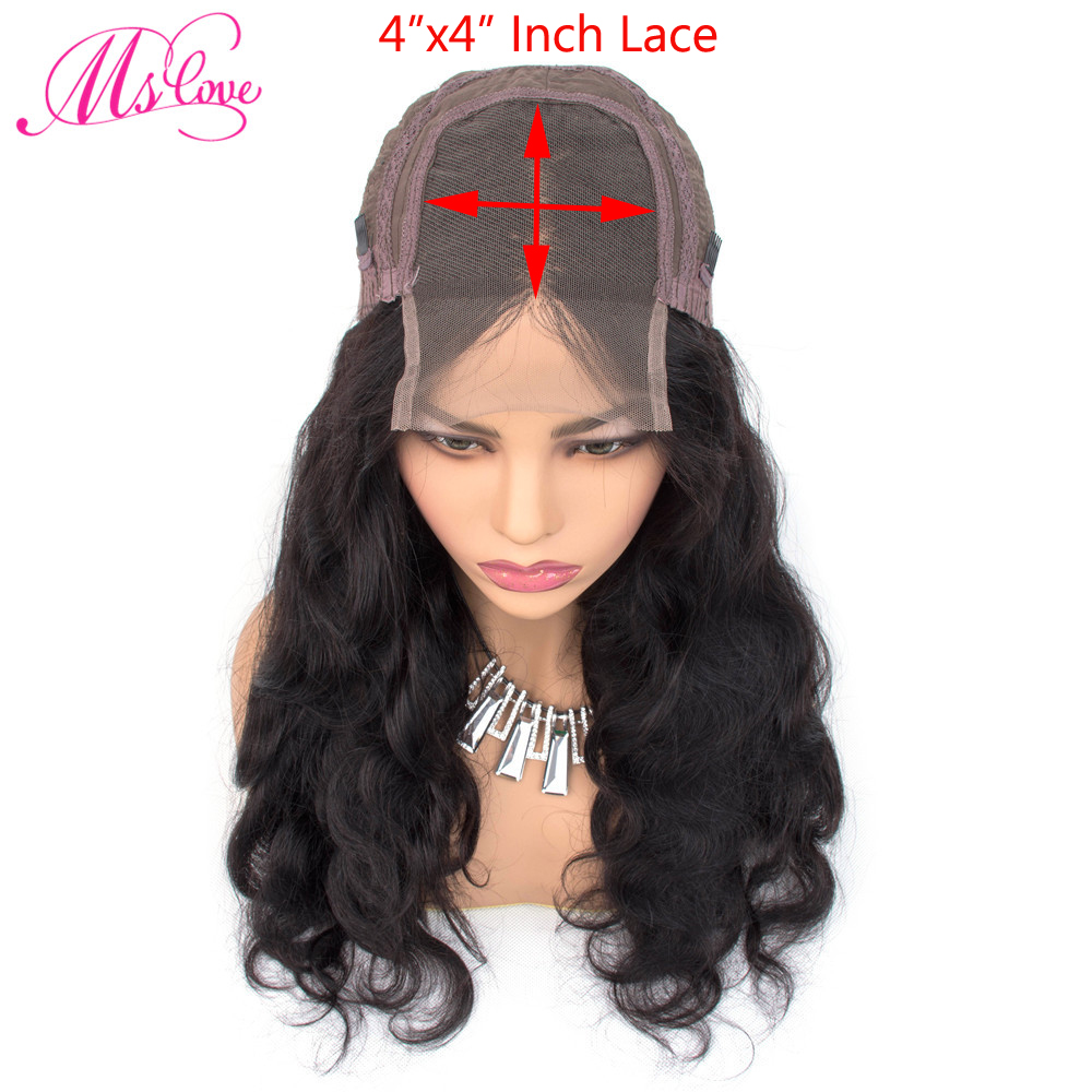H4f13645ed46840758f551a9fac188728v Ms Love 4X4 Lace Closure Human Hair Wigs Body Wave Brazilian Human Hair Wigs For Black Women Natural Color Non Remy Wig