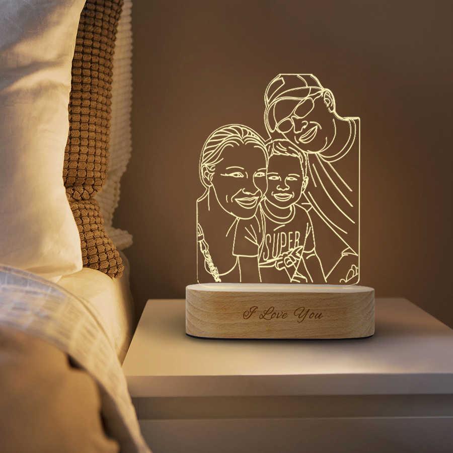 Luz De Noche 3d Personalizada 3 Colores Usb Foto Texto Bricolaje Lámparas Para Bebé Navidad Boda Regalo Luces De Noche Led Aliexpress