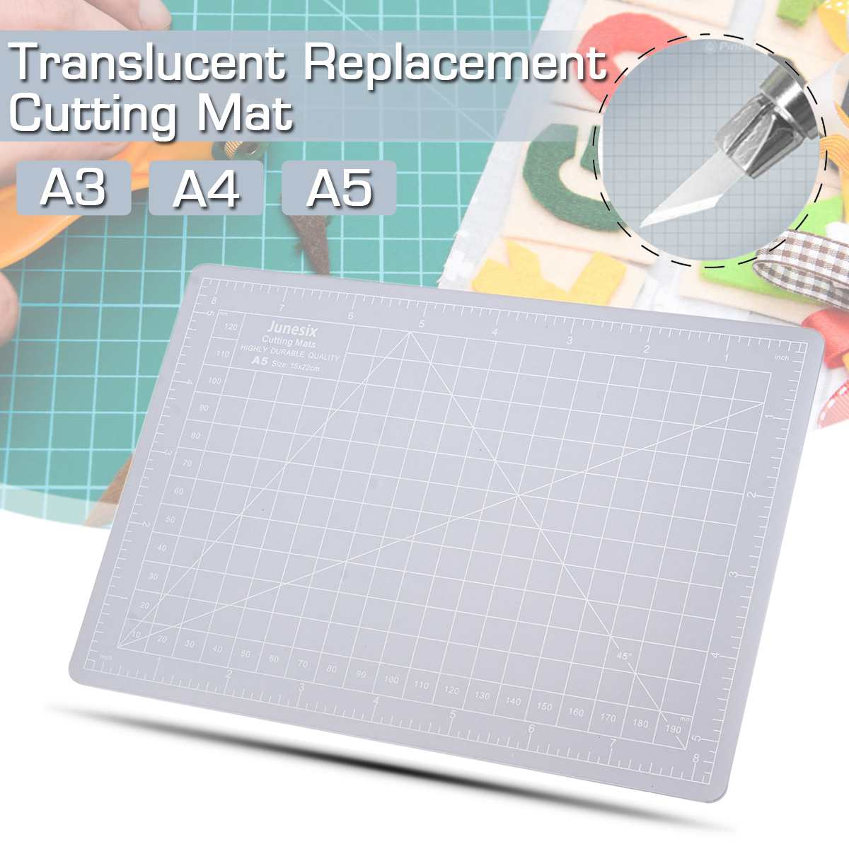 A3, A4, A5 Transparent Replacement Cutting Mat Adhesive Mat Composite PVC With Measuring Grid For Silhouette Cameo Plotter