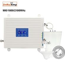 Repetidor de tres bandas 2G 3G 4G GSM Amplificador de señal móvil 70dB GSM 900 LTE 1800 WCDMA 2100mhz, juego de antena de señal móvil