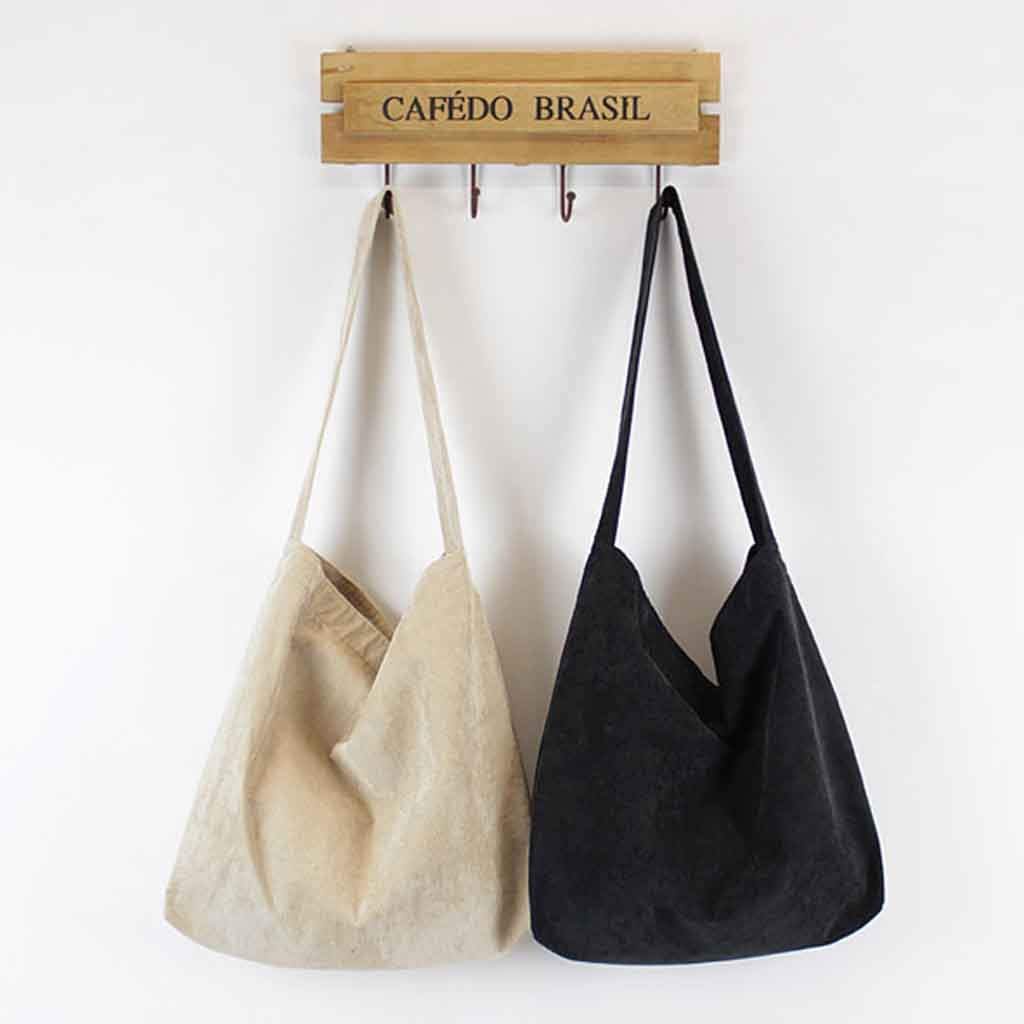 Women Corduroy Shoulder Bag Canvas Cloth Fabric Handbag Solid Casual Tote Ladies Eco Shopping Bags College Students Books Bag