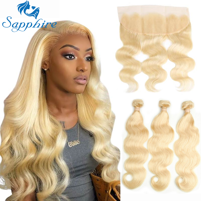 Sapphire Blonde Brazilian Body Wave Bundles With Frontal 613 Blonde Human Hair Bundles With Closure Bundles With Frontal Closure