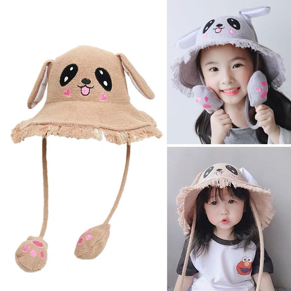 Cartoon Ears Press Air Cute Bag Moving Up Down Hat Girl Kids Summer Bucket Cap For Kids And Adult