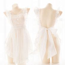 Fairy Sweet Lolita Dress Summer White Princess Transparent Maid Apron Dress for Women Girl Anime Cosplay Lingerie Gothic Dresses(China)