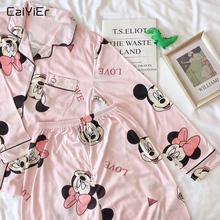 Caiyier Spring Autumn Women Pajama Sets Cute Mickey Print Tu