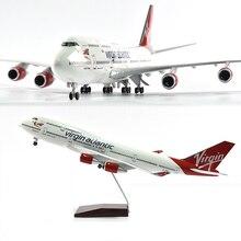 JASON TUTU 46cm Virgin atlantic Boeing 747 Plane Model Airplane Model Aircraft Model 1/160 Scale Diecast Resin Airplanes Planes