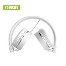 POLVCDG White Music HIFI Headphones Microphone Noise Cancelling Headsets DJ Earphone Stereo Computer Mobile MP3 Wired Headset