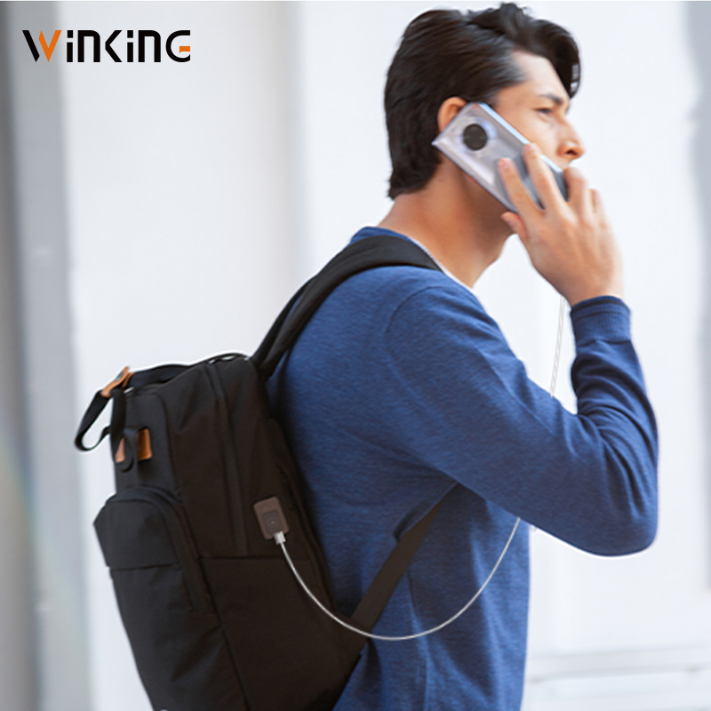 Kingsons homme sac à dos Fit 15 pouces ordinateur portable USB recharge multi-couche espace voyage homme sac Anti-voleur Mochila - 6