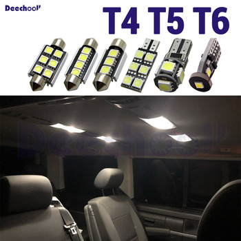 Pure White License Plate +Interior indoor LED Bulb + Foot Step Lights Kit For VW For Multivan Caravelle Transporter T4 T5 T6 image