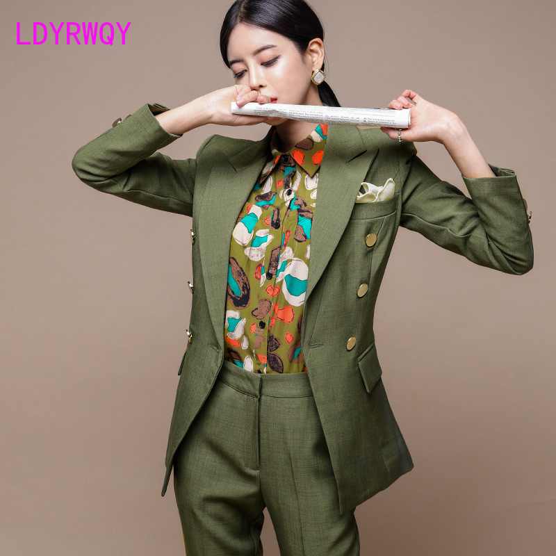 2019 autumn and winter women's double-breasted slim fit blazer + slim trousers suit Office Lady  Double Breasted