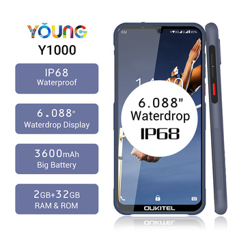 Перейти на Алиэкспресс и купить Смартфон OUKITEL Y1000, прочный, 2 Гб ОЗУ 32 Гб ПЗУ, 6,088 дюйма, Android 9,0, IP68, Waterdrop, MT6580P, 3600 мАч, сканер отпечатка пальца, мобильный телефон