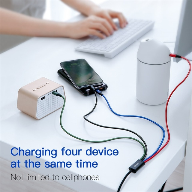 Baseus 3 in 1 USB Cable Type C Cable for Samsung S20 Xiaomi Mi 9 4 in 1 Cable for iPhone 12 X 11 Pro Max Charger Micro USB Cable 2