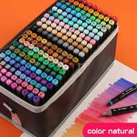 Marcatori della penna della spazzola set studente anime disegno 30/40/60 di colore a doppia testa di colore grassa POP penna piena set di 168 di colore rifornimenti di arte
