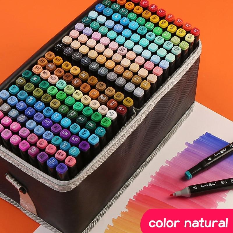 Markers Pen Brush Set Anime Student Design 30/40/60 Color Double Head Color Oily POP Pen Full Set Of 168 Color Art Supplies