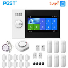 PGST PG107 Tuya Alarm System 4.3 inch Screen WIFI GSM GPRS Burglar Home Security With PIR Motion Sensor Fire Smoke Detector