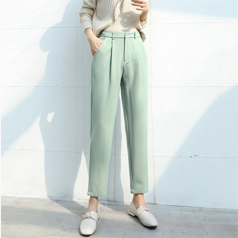 HziriP Women 2020 New Spring Plus Casual Dropping Solid High Waist Fresh Loose Straight Brief Fashion Texture Pencil Trousers