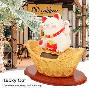 Solar Powered Maneki neko Wealth Shaking Hands Lucky Cat Beckoning Fortune Cute Cat For Home Car Hotel Restaurant Decor Craft(China)