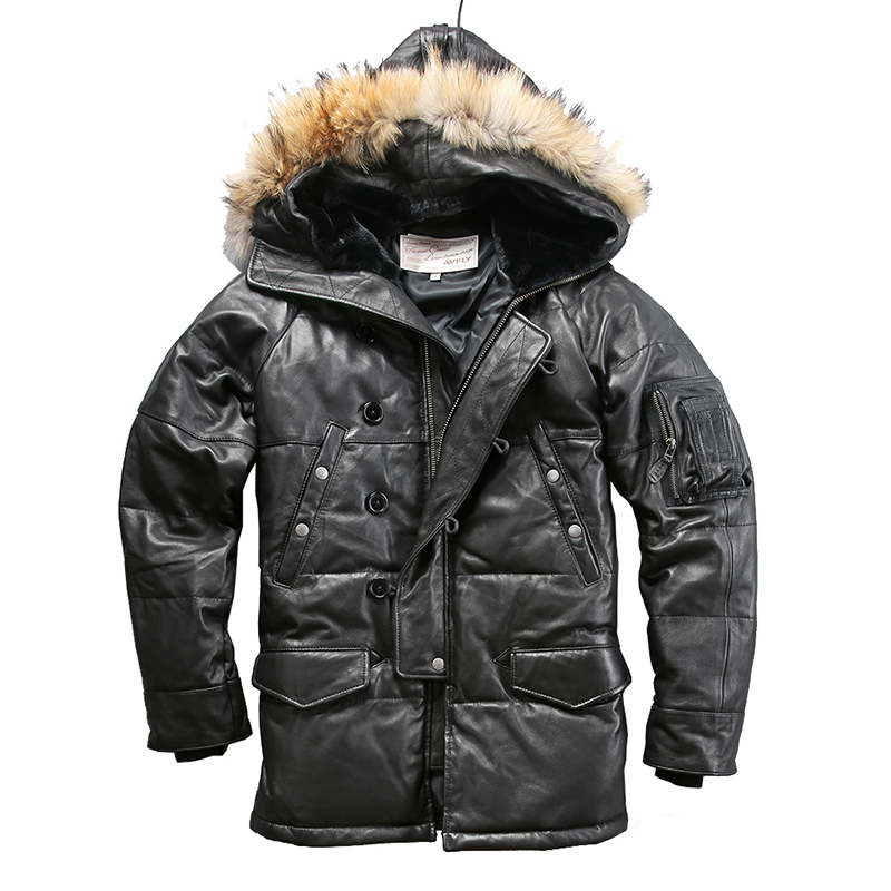018 Read Description! Quality Super Warm Genuine Sheep Skin Duck Down Leather Jacket Mens Sheep Leather Duck Down Coat
