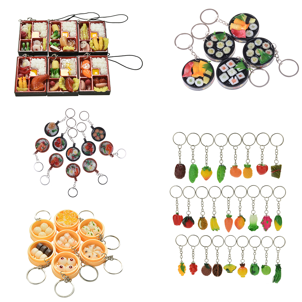 1 Piece Simulation Food Lanyard Toy Miniature Food Japanese Sushi Ramen Pretend Play Kitchen Set Toys For Girls Juguetes