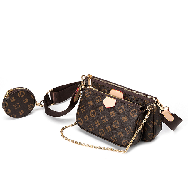 Vintage Printing Handbag 3-IN-1 Fashion Brand Messenger Bags for Women Pu Leather Crossbody Bag Lady Small Purse Handbag Totes 6