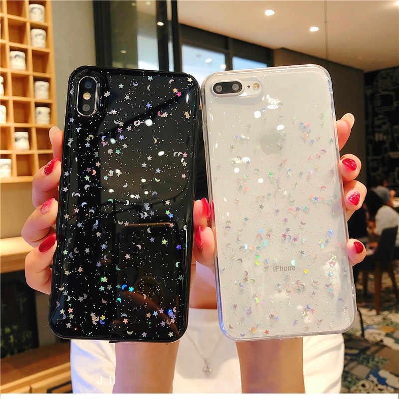 Luxury Glitter Star Moon Tpuเคสโทรศัพท์สำหรับIphone X Xs Max 7 8Plus 6S Xrโปร่งใสTpuสำหรับIphone 11 กรณีPro Max
