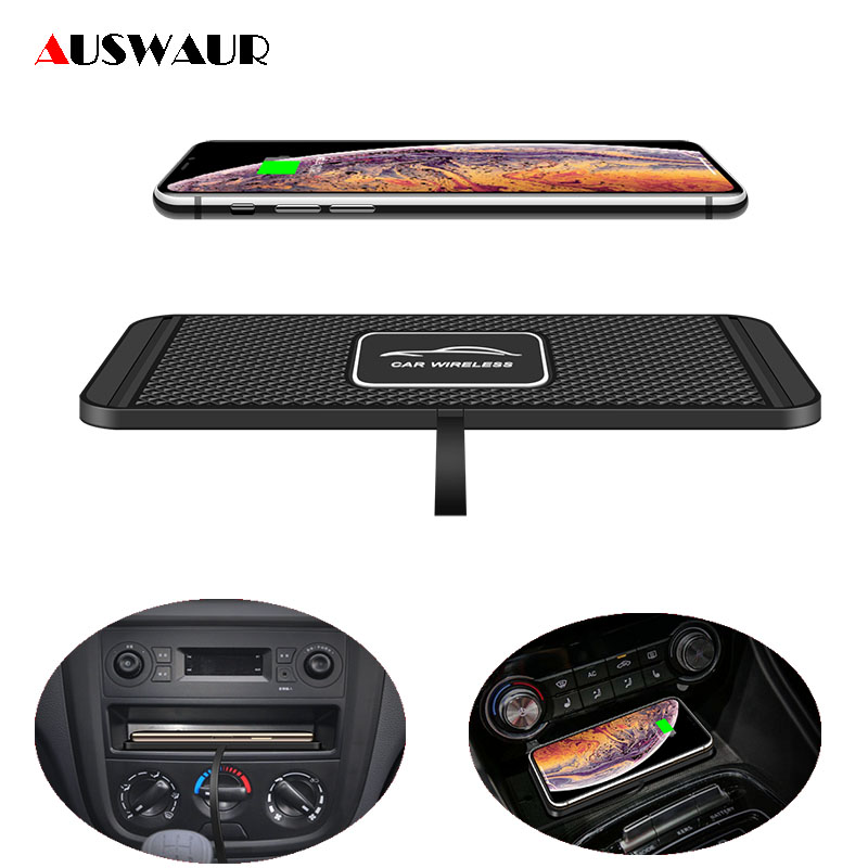 C1 QI Wireless Car Charger Pad For IPhone 11 Pro Max Fast Quick Wireless Charger Car 10W 7.5W Storage Drawer