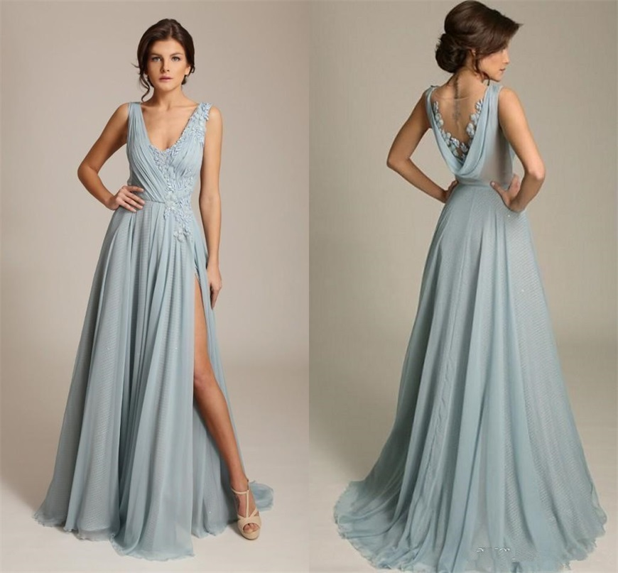 2020 Gorgoues Bridesmaid Dresses V Neck Sleeveless Appliques Chiffon Draped Back High Split Sexy Formal Wedding Party Gowns Max