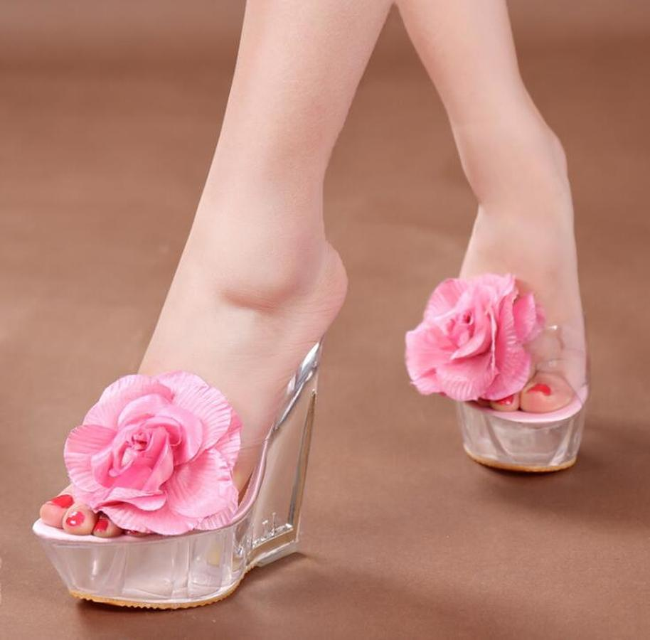 Crystal Female Wedges Heel Slippers Women Waterproof Platform Sandals Sexy Flowers High-heeled Cool Slippers 669