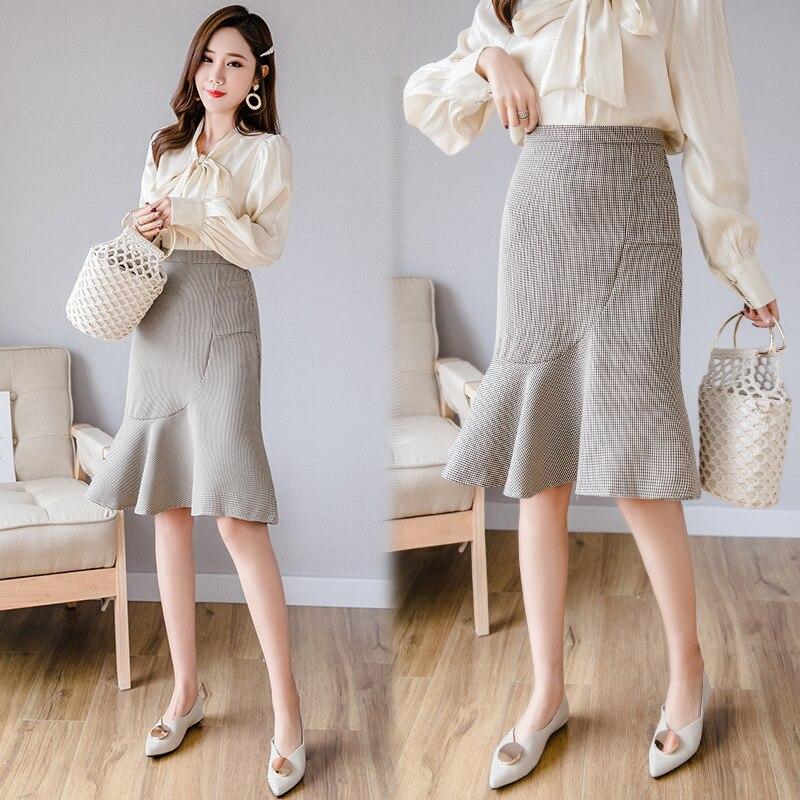 High-waisted Thousands Of Birds Skirt Women's 2019 Spring Clothing New Style Korean-style Mid-length Fishtail Plaid Sheath Skirt