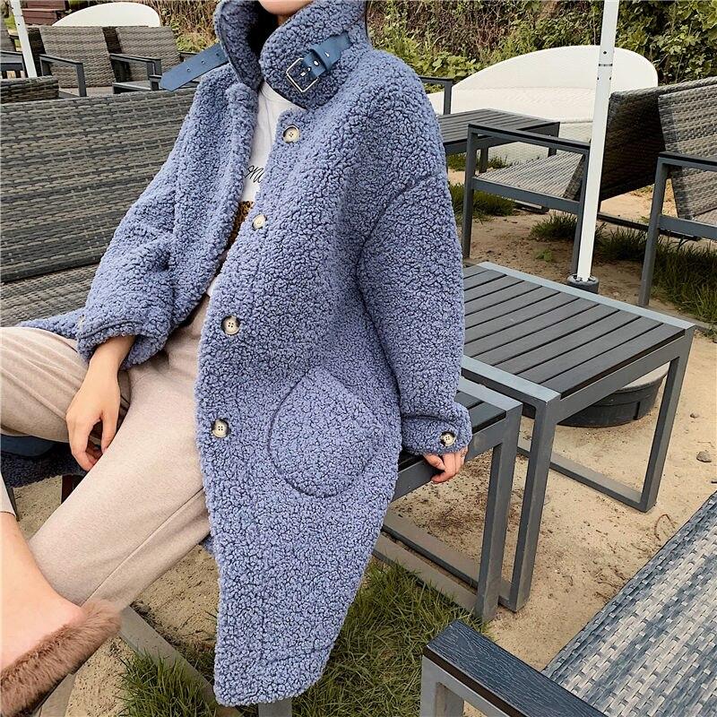 Women Faux Fur Coat 2019 Winter Warm Teddy Coat Fashion Long Parka Lamb Fur Jacket Ladies Outwear Coat