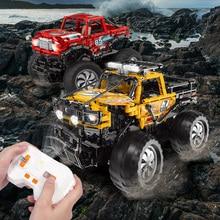 technics Off-road vehicle 2.4Ghz radio remote control vehicle MOC building block monsters pickup truck model bricks RC CAR toys цена 2017