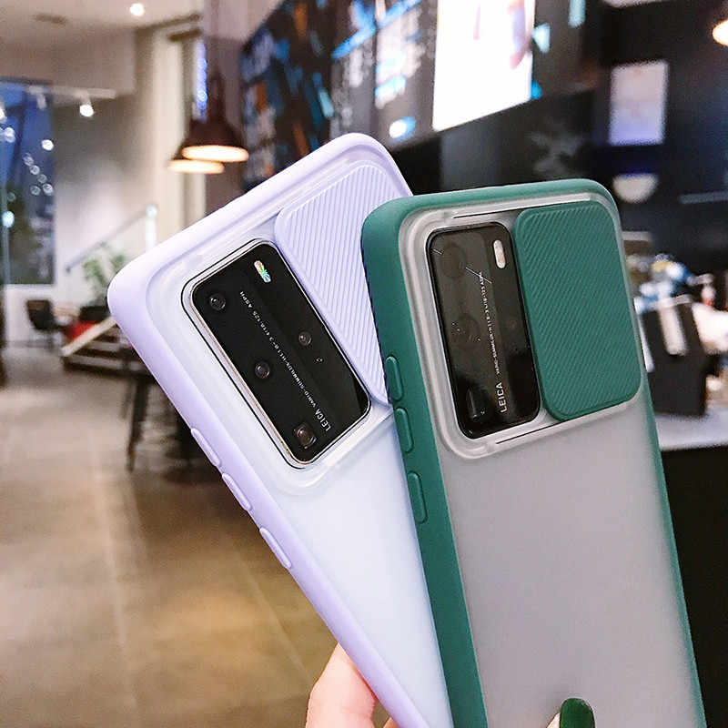 Kamera Pelindung Case untuk Huawei P40 Pro Geser Penutup Lensa Huawei P40 Transparan Anti Jatuh Cangkang Pelindung