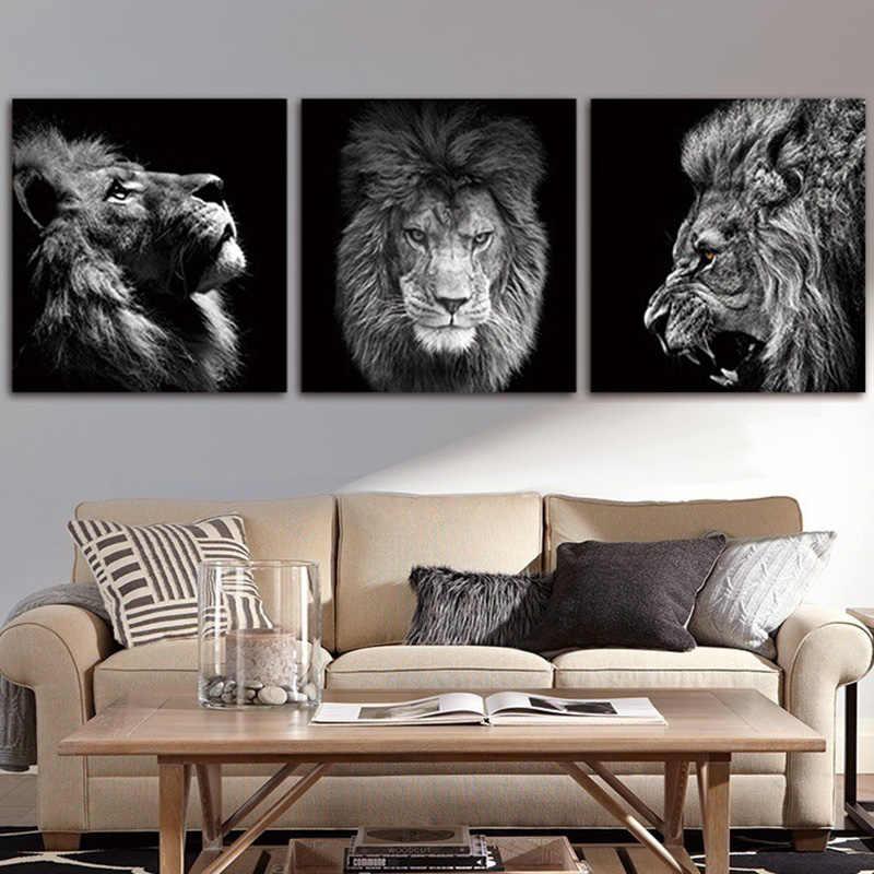 Conisi 3 لوحات الحيوان الأسد صورة مجردة جدار لوحات فنية ملصق على قماش يطبع ديكور المنزل غرفة نوم الديكور