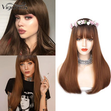 Vigorous Wig Straight Wig Human Remy Hair wigs for Women Natural Hairline Bleached Knot Brown Cosplay(China)