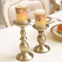 Metal Candle Holder Flower Vase Bronze Candelabra Fashion Wedding Candle Stand Exquisite Metal Lantern Gold Home Decor Moroccan