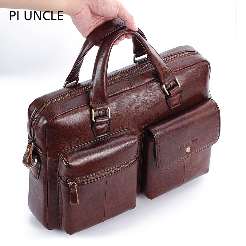 PIUNCLE Brand Genuine Leather Vintage Briefcase Messenger Bags 14inch Laptop Large Capacity Shoulder Bag Big Handbag Soft Lether