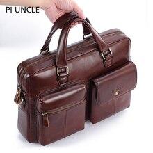 PIUNCLE Brand Genuine Leather Vintage Briefcase Messenger Bags 14inch L