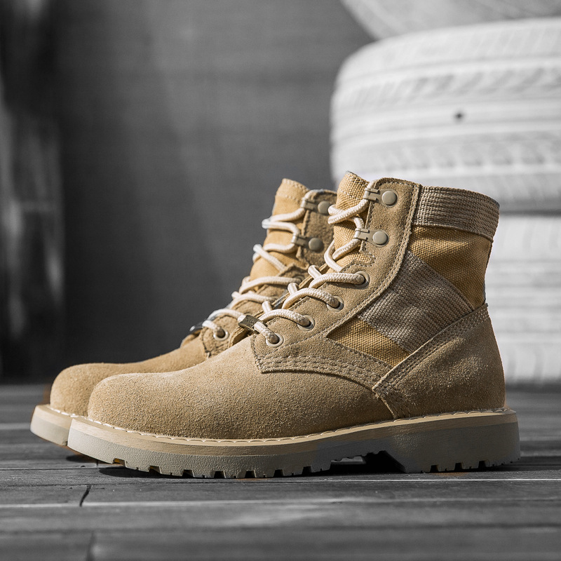 Spring Men Military Boots Genuine Cow Leather Waterproof Tactical Desert Combat Ankle Boot Men's Army Work Shoes 2020