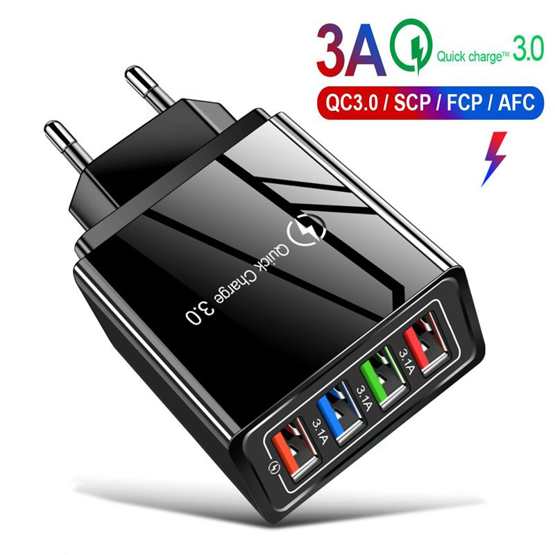 QC 3.0 Fast Charge 4 USB Multi-port 5V/9V/12V Smart Travel Mobile Phone Charger US Regulations European Standard 3A Fast Charge