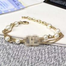цены на 2019 multilayered big small pearls cz stones rhinestone bracelet for women  в интернет-магазинах