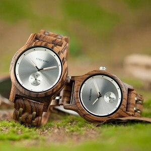 Image 2 - Promosyon BOBOBIRD İzle şık ahşap Chronograph saatler ahşap kuvars kol saati en iyi hediye kutusu relogio masculino VQ18